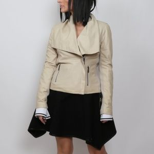 VINCE. Beige Leather Jacket Size M